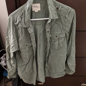 American eagle olive button down